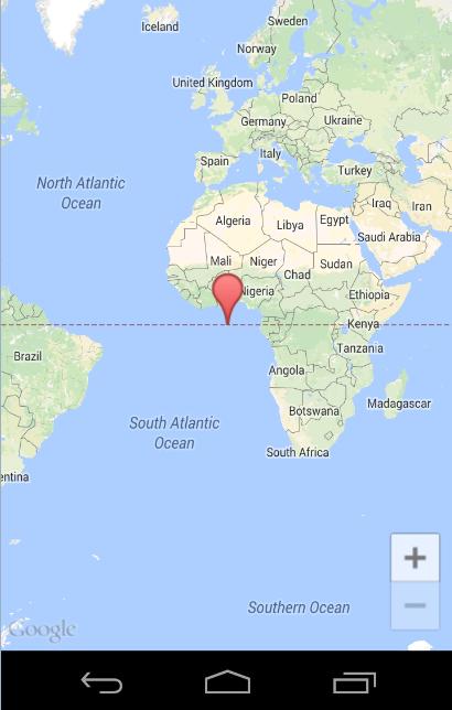 Aplicación usando API de Google Maps en el emulador de Android