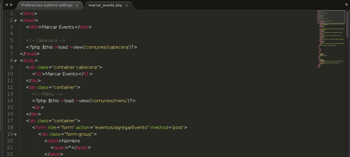 Personalizar Sublime Text 3 en la configuración del usuario
