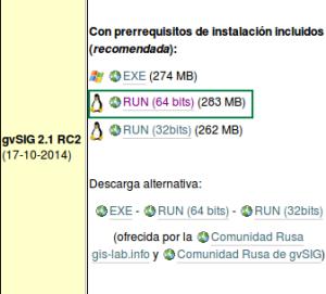 Descargar gvSIG 2.1 RC2 de 64 bits