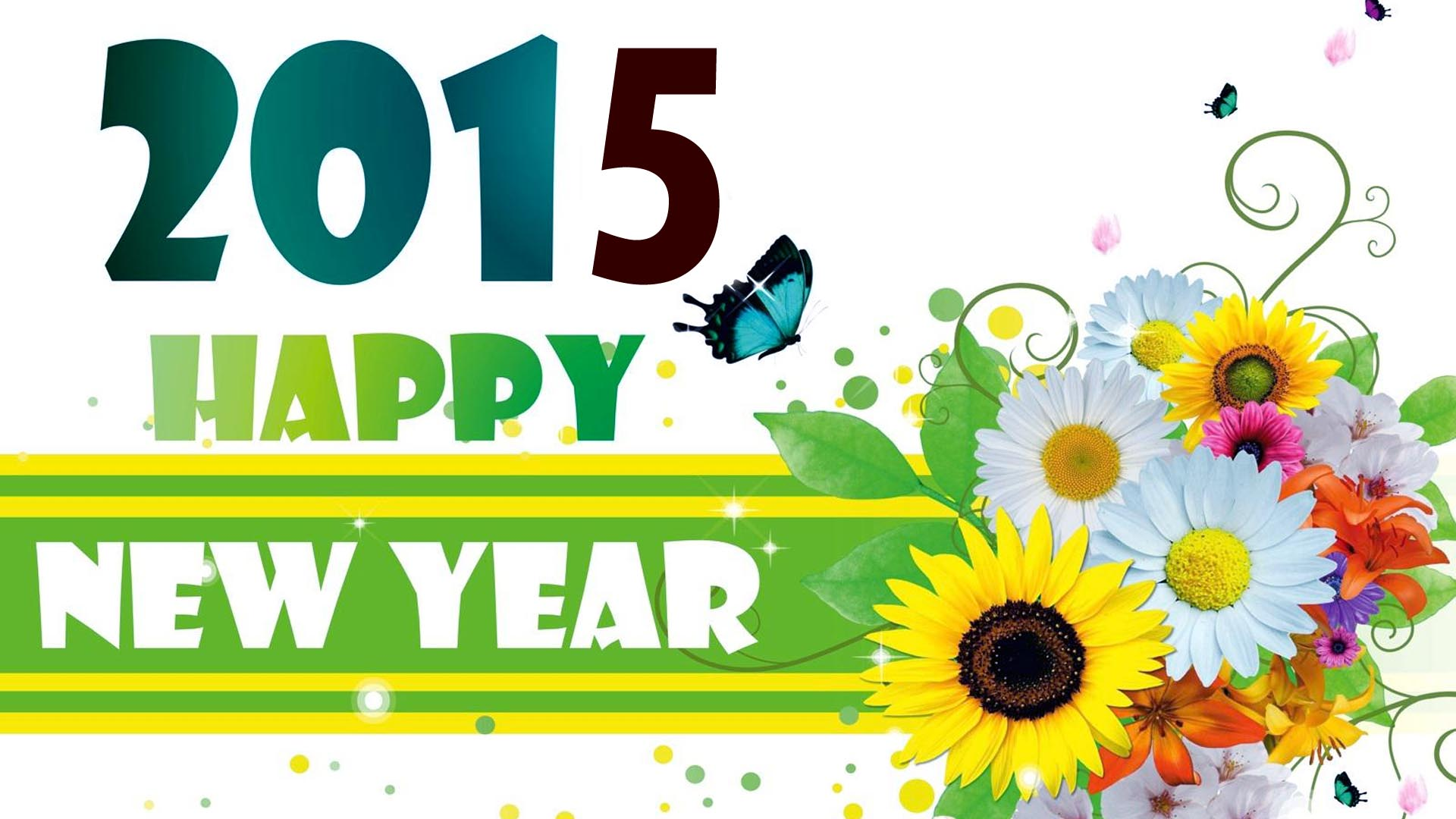 happy new year 2015 with flowers hd wallpaperjpg