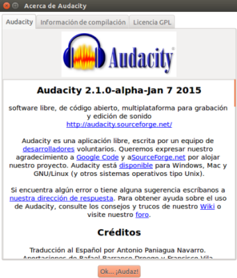 Audacity en Ubuntu 14.10