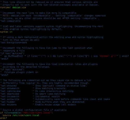 Colores en la sintaxis en Vim