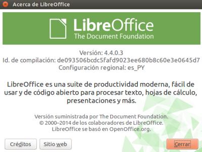LibreOffice 4.4.0.3 en Ubuntu 14.10
