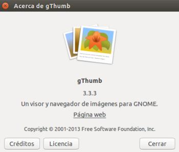 Acerca de gThumb 3.3.3 en Ubuntu 14.10