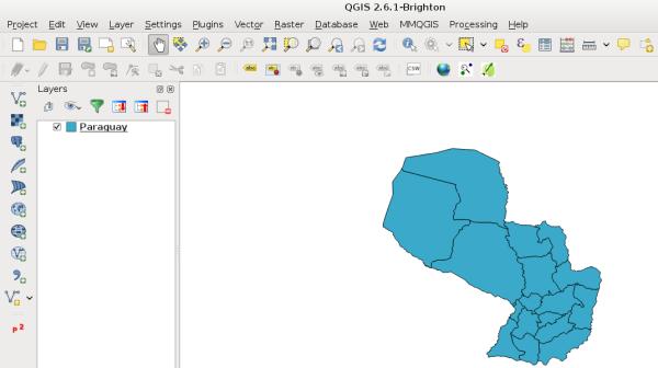 Ejemplo en QGIS mostrando los departamentos de Paraguay con GeoJSON