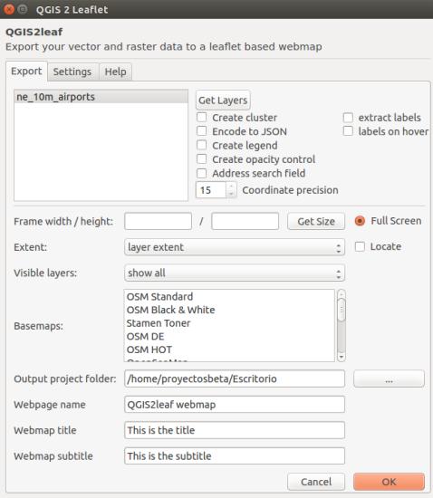Exportando un proyecto de QGIS a Leaflet