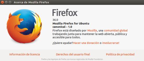 Mozilla Firefox 36 en Ubuntu 14.10
