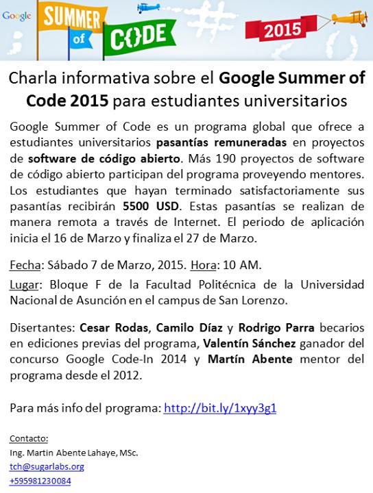 Charla informativa sobre Google Summer of Code 2015