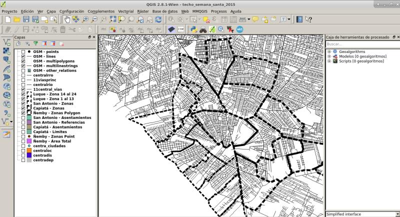 Mapas de 4 ciudades en QGIS