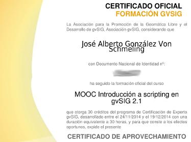 Certificado oficial formación gvSIG