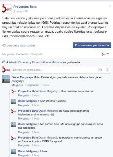 Creación del grupo QGIS Paraguay en Facebook