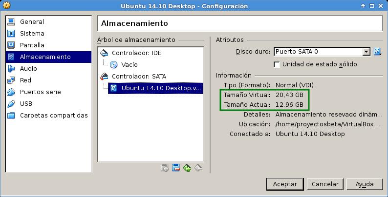 Disco sin comprimir en VirtualBox