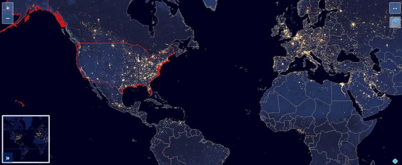 Servidor de mapas usando imágenes raster de la NASA y Natural Earth