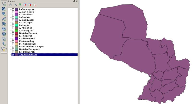 17 Departamentos de Paraguay en un shape