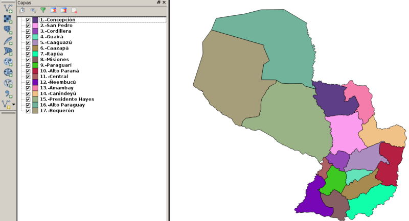 17 shapes de los Departamentos de Paraguay