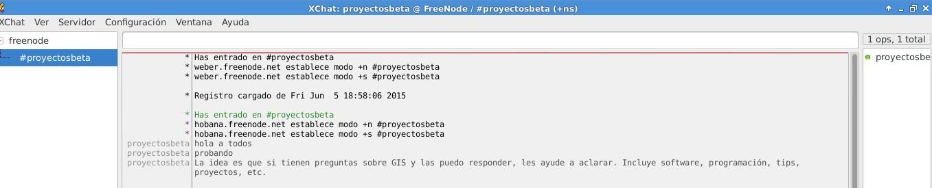 Canal proyectosbeta en FreeNode