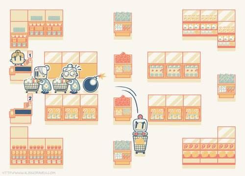 Cola de super - estilo Bomberman