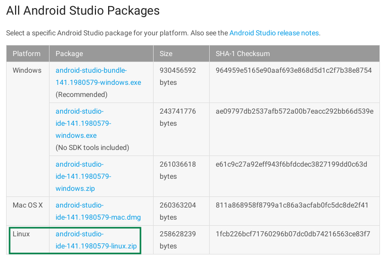 Descargar Android Studio para GNU-Linux