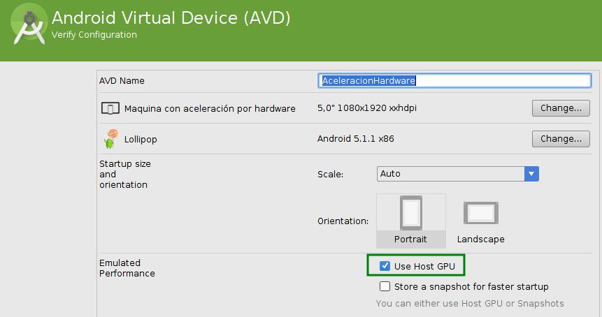 GPU activada para el emulador para Android