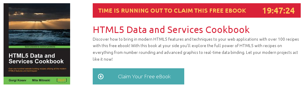 """""""HTML5 Data and Services Cookbook"""", ebook gratuito de @packtpub disponible durante las próximas 19 horas"""