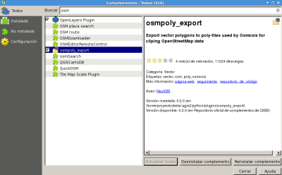 Instalar complemento osmpoly_export