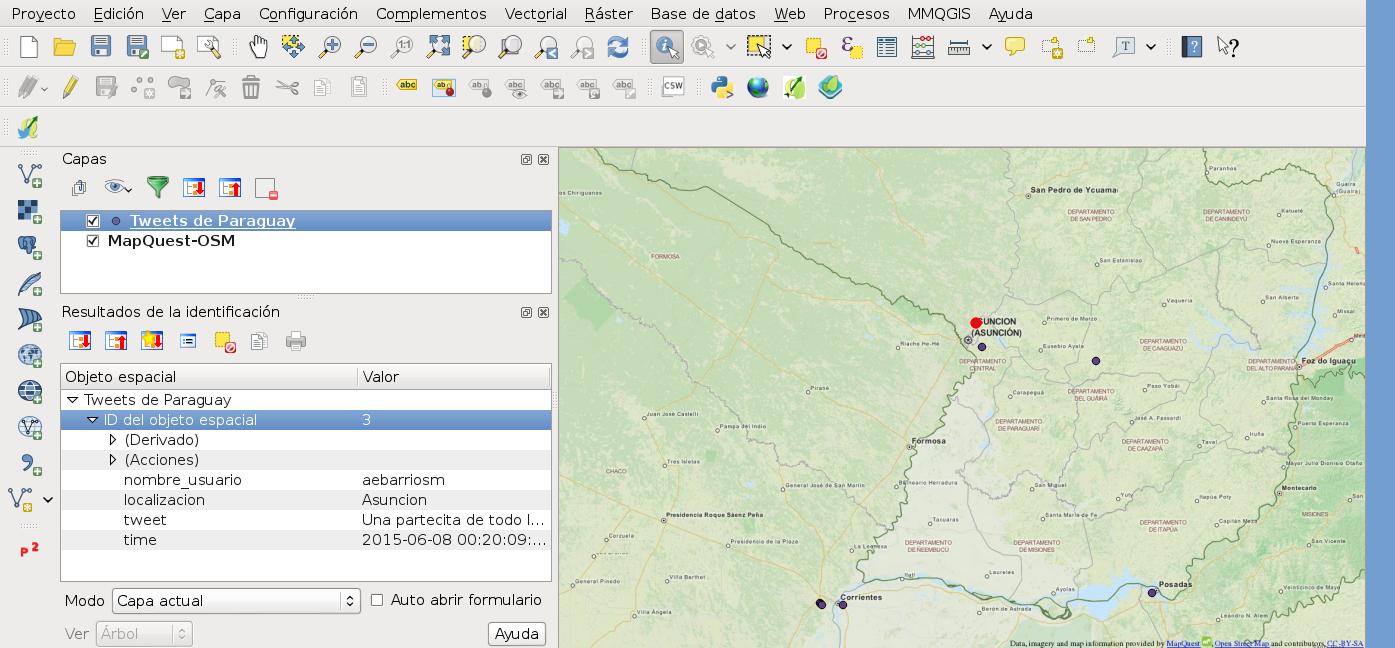 Mapa mostrando tweets en QGIS