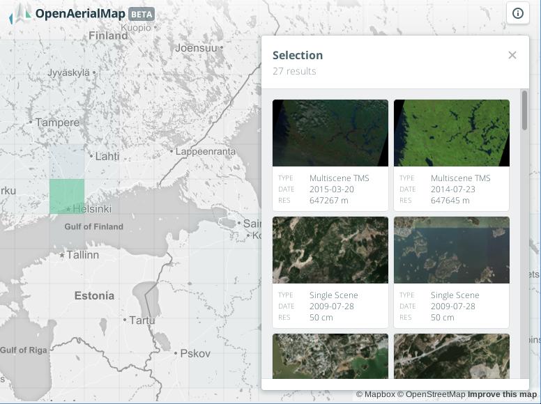 Varias imágenes de OpenAerialMap (OAM)