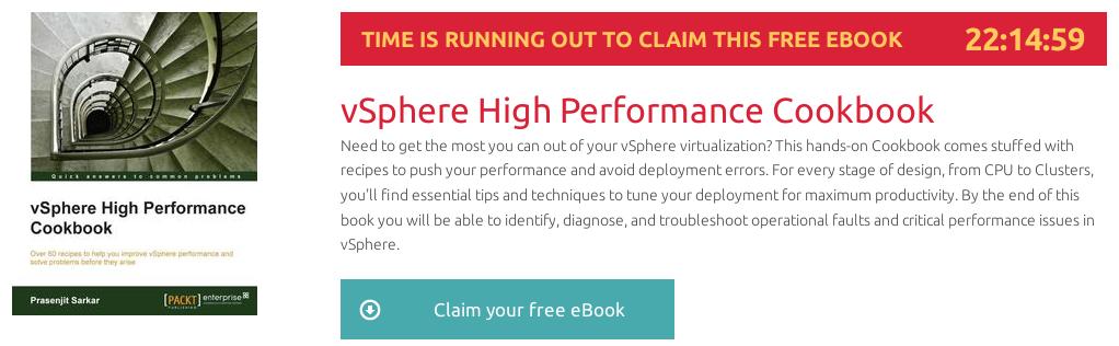 ebook vSphere High Perfomance Cookbook gratis disponible por 22 horas en packtpub