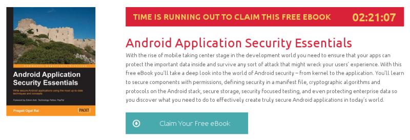 Android Application Security Essentials, ebook gratuito de packtpub disponible durante las próximas 2 horas