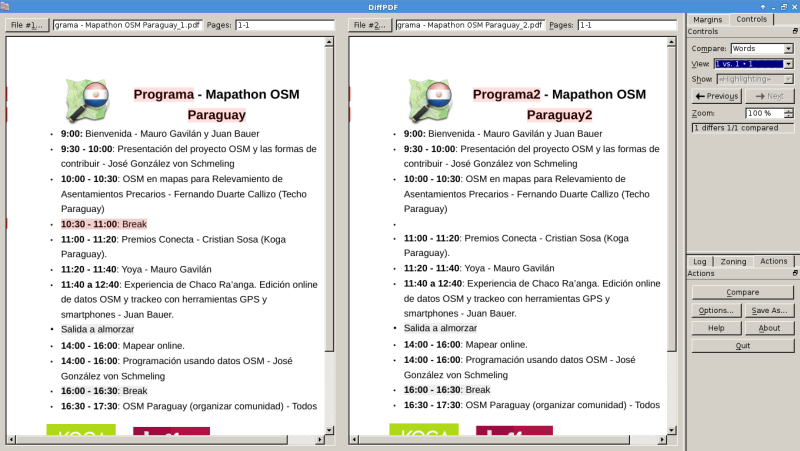 Comparar dos pdfs en Debian Jessie