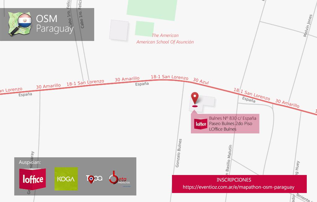 Mapathon OSM Paraguay en LOffice Bulnes