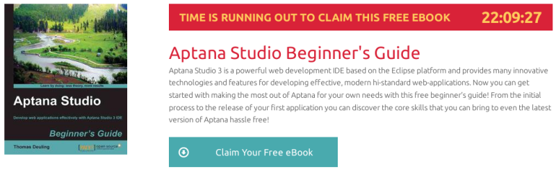 Aptana Studio Beginner's Guide, ebook gratuito de packtpub disponible durante las próximas 22 horas