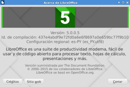 LibreOffice 5.0.0 en Debian Jessie