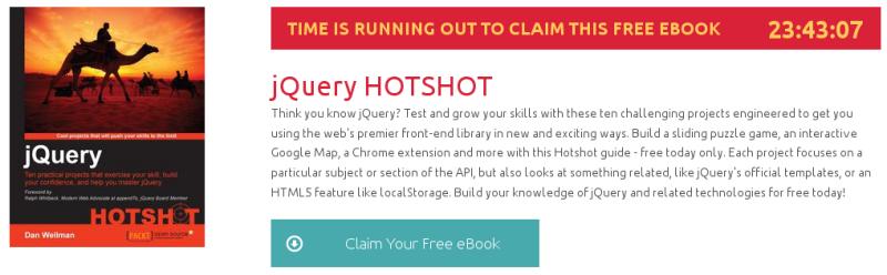 jQuery HOTSHOT, ebook gratuito de packtpub disponible durante las próximas 23 horas