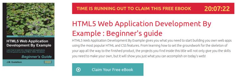 HTML5 Web Application Development By Example : Beginner's guide, ebook gratuito de packtpub disponible durante las próximas 23 horas