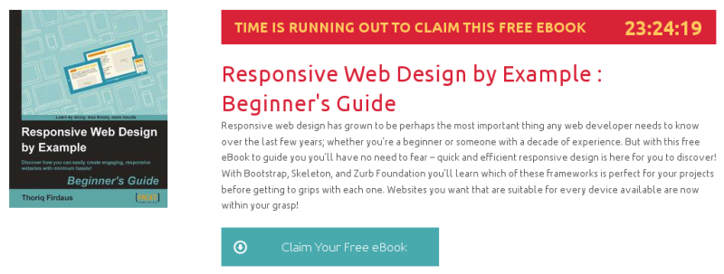 Responsive Web Design by Example : Beginner's Guide, ebook gratuito de packtpub disponible durante las próximas 23 horas
