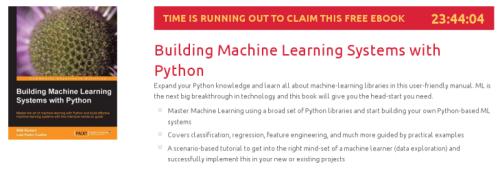 Building Machine Learning Systems with Python, ebook gratuito disponible durante las próximas 23 horas