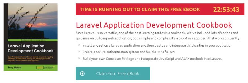 Laravel Application Development Cookbook, ebook gratuito disponible durante las próximas 22 horas