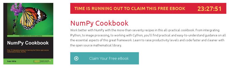 NumPy Cookbook, ebook gratuito disponible durante las próximas 23 horas