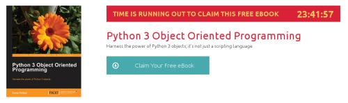 Python 3 Object Oriented Programming, ebook gratuito disponible durante las próximas 23 horas