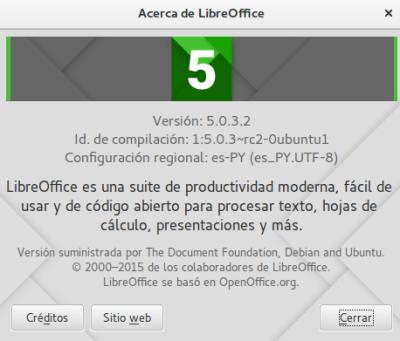 LibreOffice 5 en Ubuntu 15.10