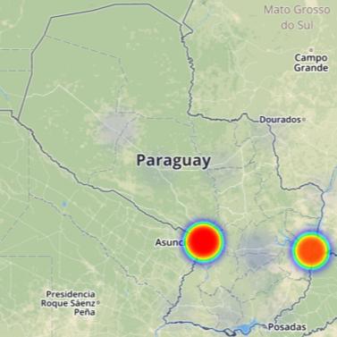 Mapa de calor de las elecciones municipales 2015 Paraguay