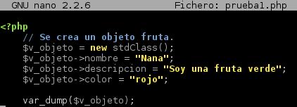 Código de ejemplo utilizando var_dump()