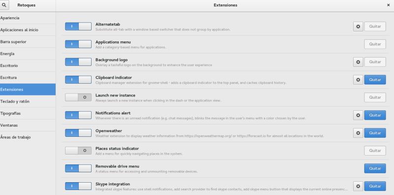 Extensiones de Gnome Shell en Fedora 23