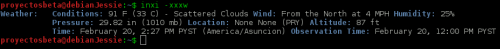 Información del tiempo en la linea de comandos