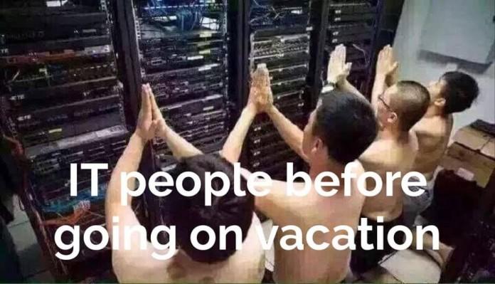 La gente de TI antes de las vacaciones