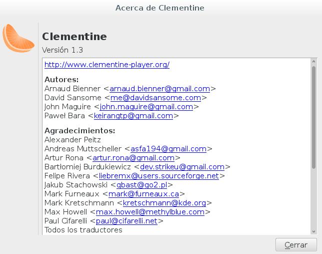 Clementine 1.3.0 en Debian Jessie
