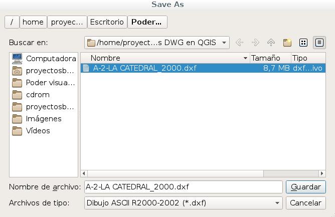 Guardar DWG a DXF versión 2000