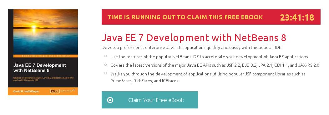 Java EE 7 Development with NetBeans 8, ebook gratuito disponible durante las próximas 23 horas