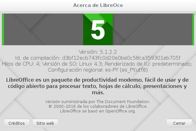 LibreOffice 5.1.2 en Debian Jessie